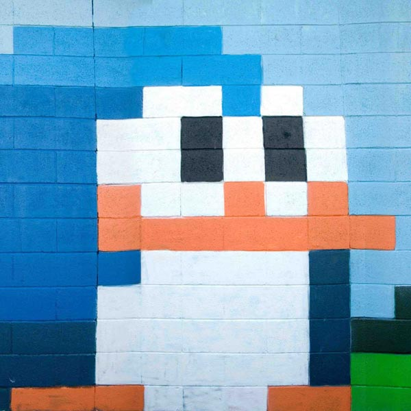 Street view: 8-bit penguin