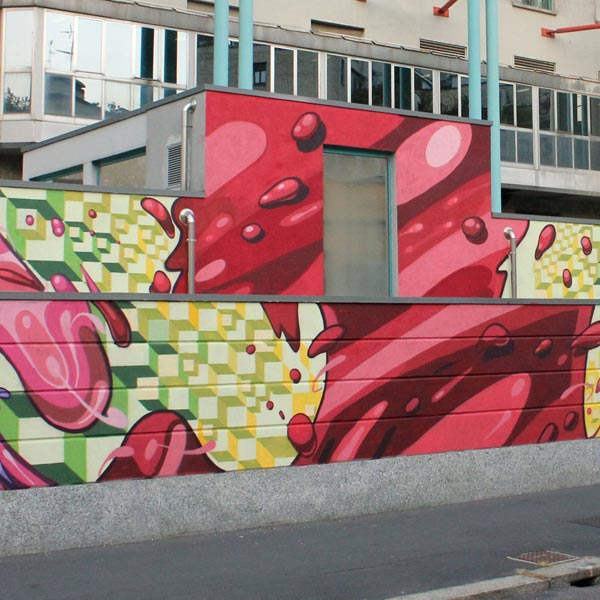 External wall painted with a Mural at G. Pini Hospital