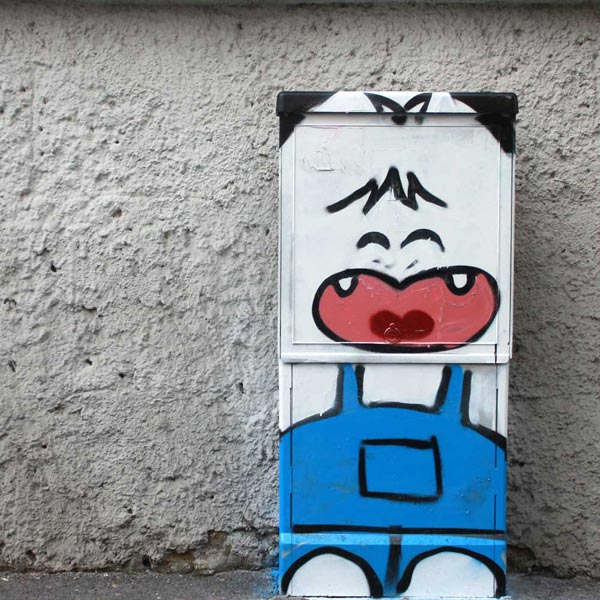 Spank, from Hello! Spank manga, painted on an electric cabinet in Milan. Street art by Pao