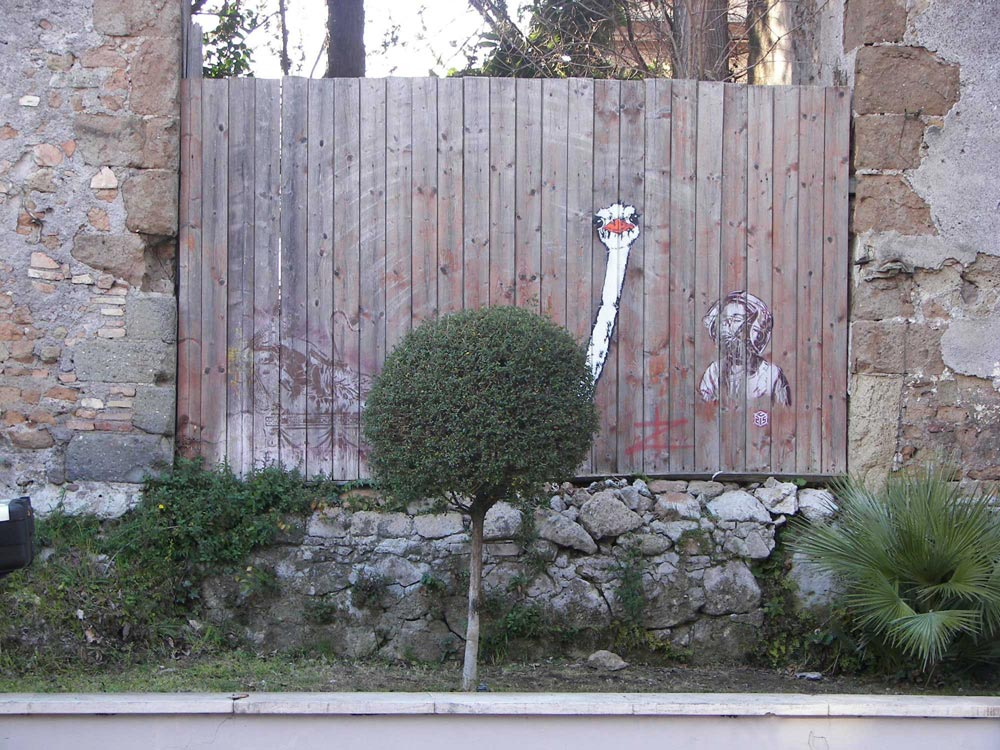 A street art Ostrich, painted on a wall, using a small green bush as the body. Painted with students for a workshop in IED Rome.