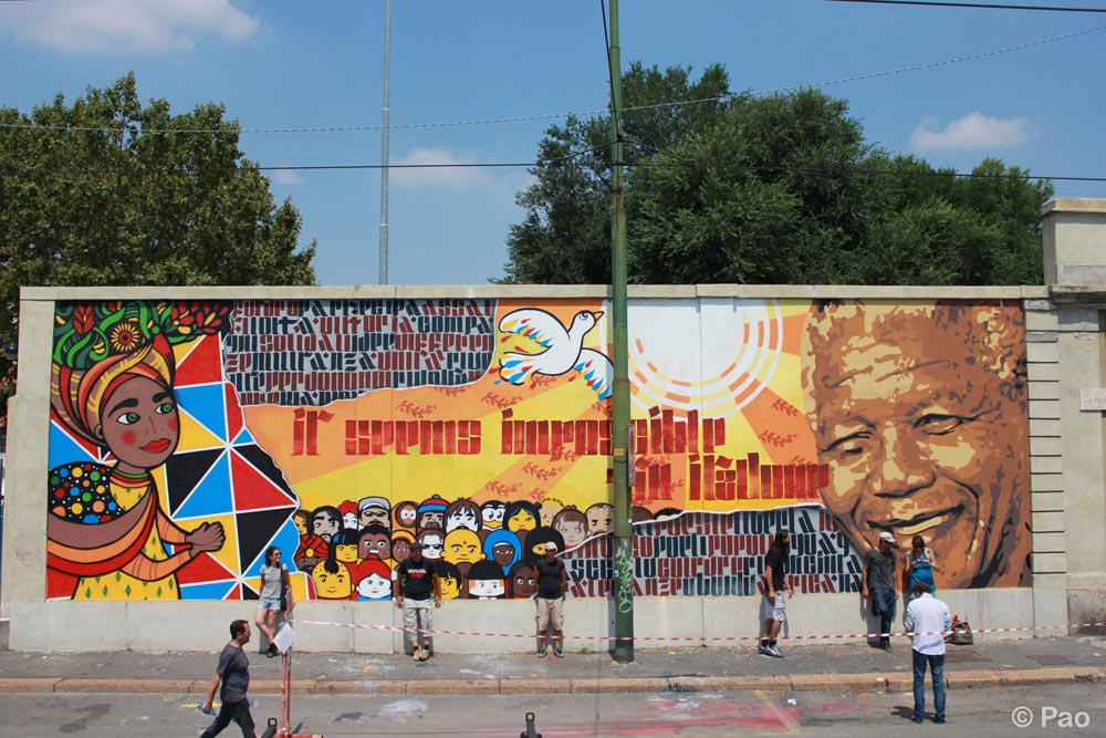 Mural dedicated to Mandela, by Nais, Ivan, Orticanoodles and Pao.