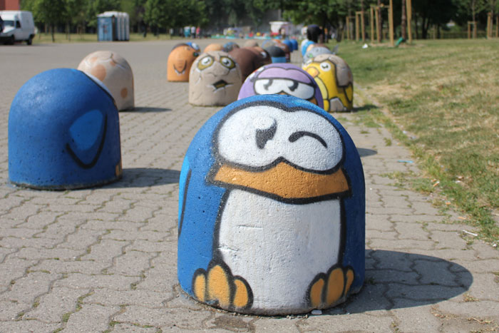 Street art penguins in Milan